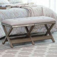 Bed Bench End of Foot Upholstered Mirrored Leg Bedroom Entryway Shabby Chic Glam