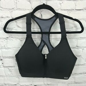 Victorias Secret Sports Bra Womens 34D Black Incredible Underwire Front Close