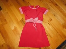 Handmade Gird Dress Vintage Red Polyester Tie Back Retro Bow with Button