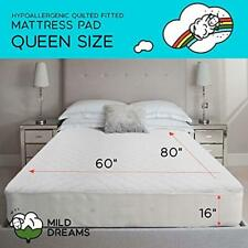Queen Mattress Pad Cover-Quilted Fitted Bed Prootector Hypoallergenic Protection