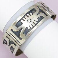 Vintage 1960s Taxco Mexican Sterling Silver Signed Evil Eye Modernist Bracelet