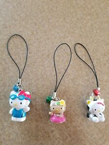 Lot of 3 Sanrio Hello Kitty Cow Swimmer Hula Girl Figure Cell Phone Charm w Bell