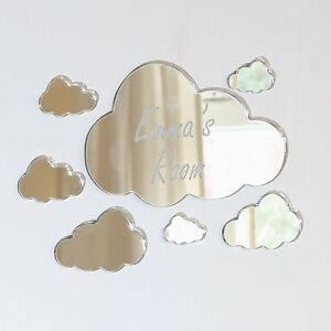 Clouds Mirror Set Personalised Door Name Plaque Boy Girls Bed Room Sign
