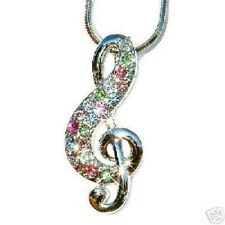 w Swarovski Crystal Pastel Musical Note TREBLE g CLEF MUSIC Pendant Necklace NEW