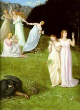 """Wonderful Oil painting Death and the Maiden young girls in spring landscape 36"""""""