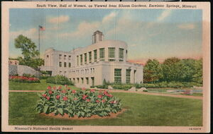 EXCELSIOR SPRINGS MO Postcard Hall of Waters Siloam Gardens South View Vintage