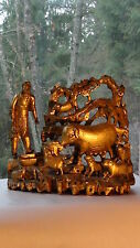 ANTIQUE CHINESE LACQUERED GILT PIERCED WOOD HAND CARVED FIGURE GROUP WITH A PIGS