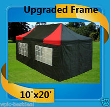 10'x20' Pop Up Canopy Party Tent EZ - Black Red - F Model Upgraded Frame