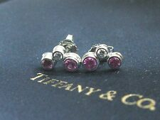 Tiffany & Co Platinum Pink Sapphire Diamond Bubble Earrings .56CT