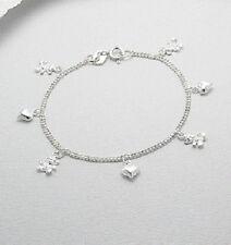 Sterling Silver Gift Girls Child Baby's Heart Teddy Bear Bracelet 15cm