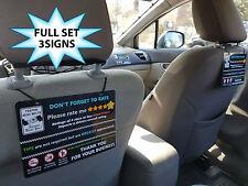 Uber & Lyft Driver TIPS & 5 Star Rating Car Seat Headrest Sign (s5) (Set of 3)