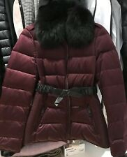 Burberry Brit Women Down Jacket With Detachable Fur Collar And Leather Belt UK8