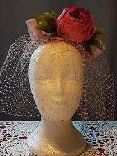 Floral fascinator headpiece with veil special occasion races wedding