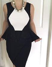 BASQUE WOMENS DRESS PEPLUM OVERLAY LACE BLACK WHITE NEW LINED Zip Splits SZ 8