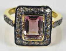1.85ct Rose Cut Diamond Tourmaline Victorian Look 925 Silver Cocktail Ring