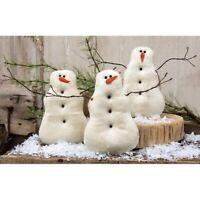 Primitive Little Snowman Fabric Snowmen Country Christmas Farmhouse Winter Set 3