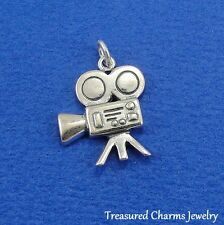 .925 Sterling Silver MOVIE CAMERA CHARM Actor Actress Film Director PENDANT