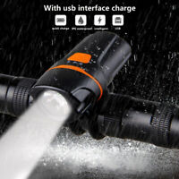 Waterproof Bicycle Bike Front Light Headlight USB Rechargeable Cycling LED Lamp