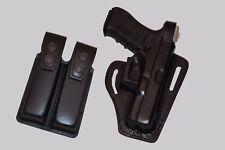 K339092-23 Pancake Leather Holster Thumb Break RH & Double Mag Case For GLOCK 23