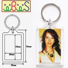 3x Blank Acrylic Keyrings 49x35mm Frame   43x28mm Photo key ring plastic  09008 ef8fc8ad90