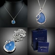 Azul Opal cisne collar a-357 regalo set/adornada con swarovski ® cristal
