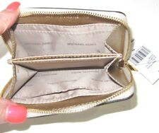 Michael Kors Money Pieces Card Case Pale Gold Metallic Zip Around Small Wallet