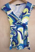 """Ladies V-neck Top Blue/Green/White Chest 25"""" Jane Norman<NH5679"""