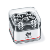 Genuine Schaller CHROME S-Lock Guitar Strap Locks Pair/Set, Made in Germany