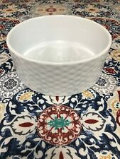 New listing White Ceramic Feed Me Dog Food Bowl New 3 inches Tall 6 3/4 Width