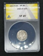 1921-D Mercury Dime | ANACS VF20 | Key Date, Problem-Free Coin!