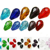20Pcs Faceted Teardrop Crystal Loose Spacer Beads Jewelry Making 8x12/16x10mm
