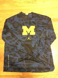 NWOT Mens Jordan Elite Michigan Wolverines Basketball Warm Up Shirt Size XL RARE