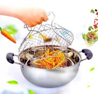 Multi-Function Folding Rinse Stainless Steel Frying Steaming,Basket net Cook