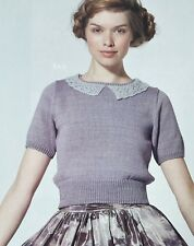 KNITTING PATTERN Ladies Short Sleeve Retro Jumper Lace Collar Sweater Rowan 4ply