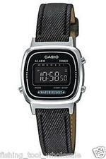 LA670WL-1B Black Casio Women Watches Genuine Leather Band Stopwatch Alarm New