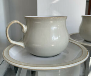 Two Denby Linen Tea/Coffee Cups & Saucers Brand New