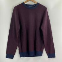 Toscano Mens Burgundy Merino Wool Long Sleeve Crew Neck Pullover Sweater Size L