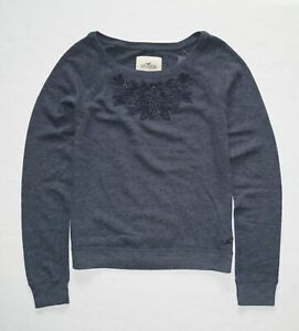 New Hollister Women's Embroidered Sweatshirt Size Medium, Large