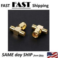 3 Way Splitter SMA Male to Two SMA Female Triple T RF Adapter Connector x1