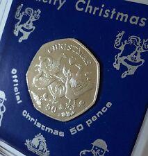 2010 Isle of Man Christmas Xmas Card Keepsake 50p Coin (BU) Gift in Display Case