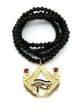 "NEW EYE OF HORUS PENDANT &6mm/30"" WOODEN BEAD CHAIN HIP HOP NECKLACE - RC2064GBK"
