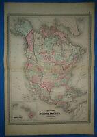 Vintage 1873 NORTH AMERICA MAP ~ Old Antique Original Johnson's Atlas Map