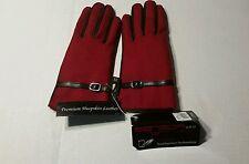 Grandoe Women's Gloves Touch Screen Leather Wool Red & Black Medium Sensor Touch