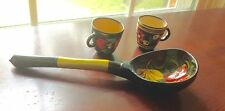 "Hand Painted 8"" Wooden Russian Ladle & Two Tiny 1.5"" Hand Painted Russian  Cups"