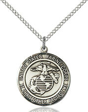 925 Sterling Silver Marines St Christopher Military Catholic Medal Necklace