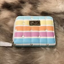 NWOT Betsey Johnson Zip Around Wallet - Rainbow Stripes With Hearts