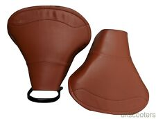 ukscooters LAMBRETTA PAIR OF SADDLE SEAT IN TAN GP LI TV SX FRONT AND REAR NEW