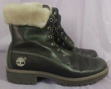 TIMBERLAND Women's Black Leather Fur Trimmed Boots Size 8.5 M