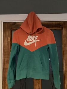 Nike Women's Orange Turquoise Pullover Hoody Hooded Sweatshirt XS