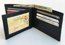 BLACK MEN's LEATHER 10+ CARD HOLDER BIFOLD WALLET CENTER FLAP Front Pocket